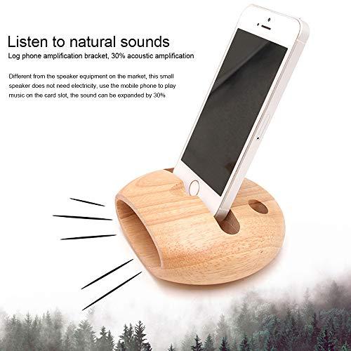 Bainuojia Handy-Halter, Jelly Comb Aufladendockstation Handy-Halter-Verstärker Lautsprecher für iPhone, Samsung, Alle Smartphone, Natürliche Holz