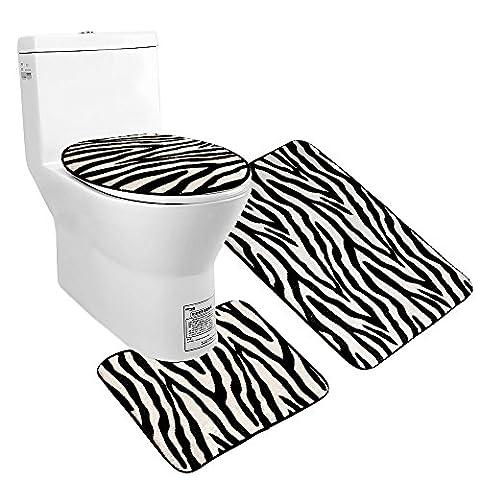 Uomere Ensemble de tapis de salle de bain Ensemble de sièges Coussin de flanelle antidérapant (Tapis de bain + Tapis de coussin + Cadre de coque) 3 pièces (zèbre)