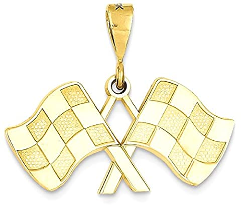 IceCarats 14k Yellow Gold Racing Flags Pendant Charm Necklace Sport Running