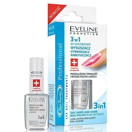EVELINE Cosmetics Nail Therapy Polish Dryer Top Coat 3in1 Dry Hard and Shiny Nails 12m by Eveline