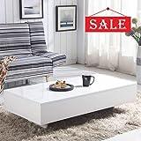 GOLDFAN Moderne Table Basse Rectangulaire Haute Brillance Table de Canapé Blanc en Bois Design avec Storage pour Salon Mobilier...