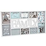 XXL Bilderrahmen Collage mit Schriftzug Family für 10 Fotos 73x38cm • Fotorahmen Rahmen Kinderbilderrahmen Bildergalerie