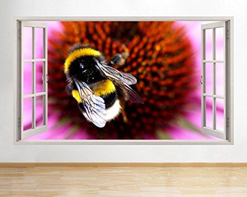 tekkdesigns G434Flower Pollen Bumble Bee Hall Fenster Wand Aufkleber 3D Kunst Aufkleber Vinyl Raum -