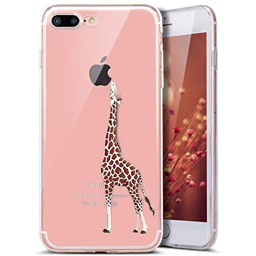 iPhone 7 Plus Custodia, iPhone 7 Plus Cover, iPhone 7 Plus 5.5 Custodia Silicone, JAWSEU Un Simpatico Gatto Disegno Creativo Ultra Sottile Cristallo Trasparente Custodia per iPhone 7 Plus Coperture Ca Giraffa