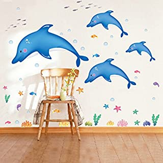 Alicemall Removable Dolphins Wall Stickers Bedside TV Background Wall Decals Environmental Protection Living Room Decoration Stickers Kid Room Wall Stickers (Blue Dolphins)