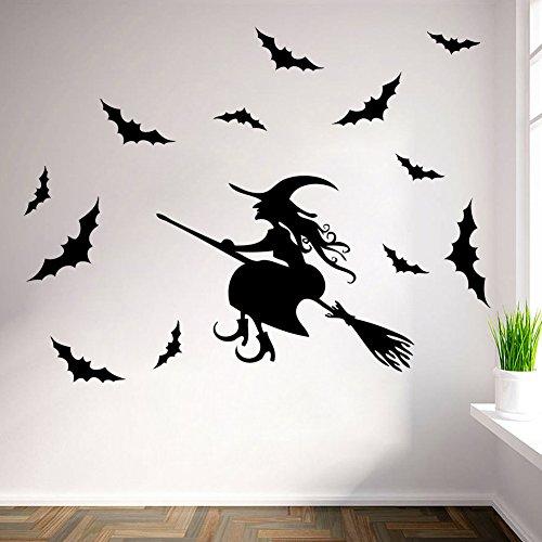 HCCY Die wand Aufkleber Bild, in dem sich der Wechseldatenträger Halloween Hexe Kinder Zimmer Wandmalerei 51 * 85 cm Aufkleber (Hexen In Der Halloween)