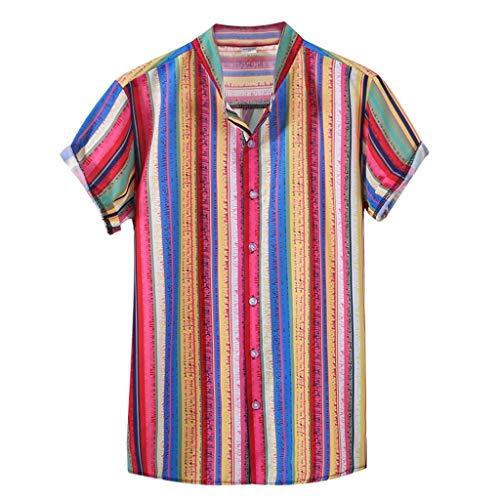 LILIGOD Herren Sommer Kurzarm Shirt Ethnic Printed Freizeit Shirt Männer Loose Stehkragen Bunte Streifen Freizeithemd Henley Shirt Sommer Casual Bequem Hemden -