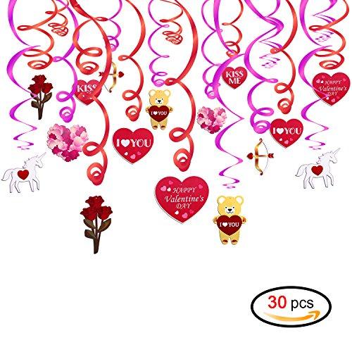 Konsait san valentino decorazioni rosso e rosa cuore ghirlanda decorazione a spirale da appendere per lei lui san valentino accessori per feste ciondolo soffitto finestra decorazione ornamenti (30 pz)