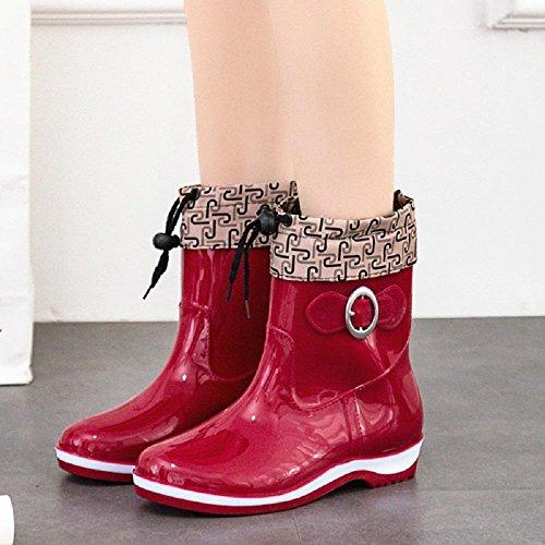 stivali di gomma di moda signora, più stivali di velluto Red