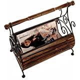 Aarsun Woods Wooden & Wrought Iron Stripped Antique Magazine Basket for Home Decor