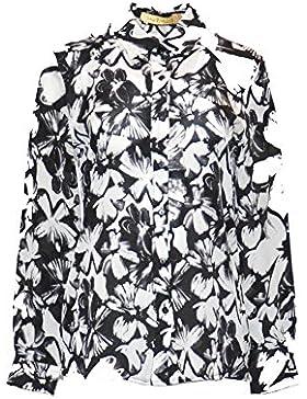 Pernille camisa, 100% seda, cuello clásico, frontal con botones de perlas, manga larga y puños con botones, fantasía
