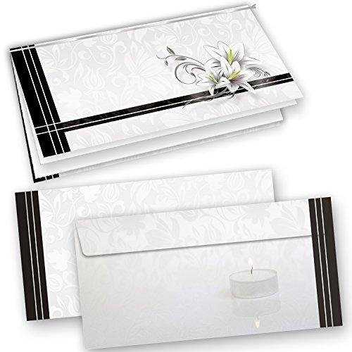 25 Sets Hochwertige Trauerkarten, Klappkarten inkl. Einlegeblätter bedruckbar und inkl. Briefumschläge