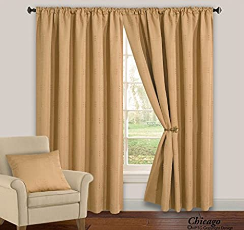 ShawsDirect Chicago Fully Lined, Readymade Curtains | Latte | 66