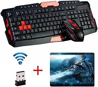 UrChoiceLtd® 2017 Cityform RK6100 Multimedia Ergonómico USB Gaming Teclado + 2,4 GHz 1000/1600dpi 6 Botones Gaming Ratón Inalámbrico USB para PC Portátiles Ordenadores de Sobremesa Macbook