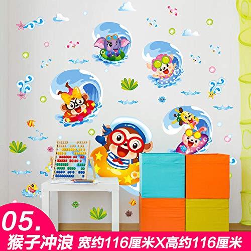 Hintergrund Wandaufkleber Schlafzimmer Kind Baby Kind Zimmer Wanddekoration stickers05 Affe Surfen [2 beliebige Sätze minus 1 Yuan, 3 Sätze minus 2 Yuan] _Extra groß