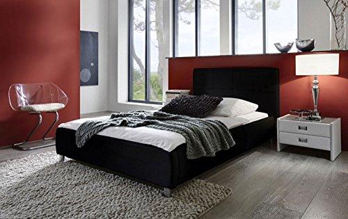 SAM® Polsterbett 100x200 cm, schwarz, pflegeleichtes Bett mit Kunstlederbezug, abgestepptes Kopfteil [521739]