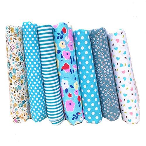 Souarts Textile Tissu Coton Motif Petit Fleur pour Diy Patchwork Artisanat Couture Bleu Clair 25cmx25cm 7PCS