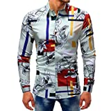 VEMOW Sommer Herbst Frühling Männer Business Hem Fashion Printed Bluse Casual Arbeit Dating Langarm Slim Shirts Tops(Mehrfarbig 7, EU-52/CN-XL)