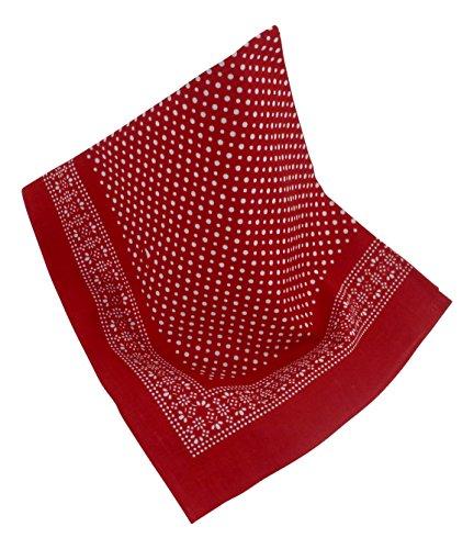 Rotes Nickituch mit Punkten und Bordüre | Bandana aus 100% Baumwolle | 53 x 53 cm | Halstuch | Teichmann
