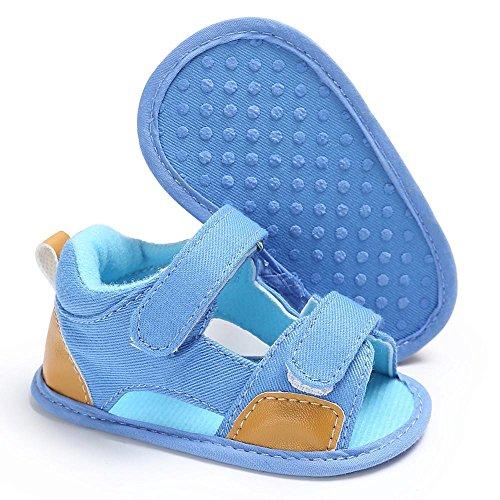 pattini di bambino Koly_Bambino appena nato Canvas s Sandali Scarpe suola molle Crib Toddler Light Blue