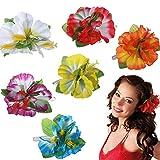Gshy Pince à Cheveux Fleur Hawaïenne Épingle à Cheveux Barrette Fleur Hibiscus Hawaï pour Femme Fille Hawaïen Accessorie Costume 8PCS