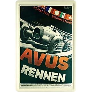 Avus Rennen 1935 Rennplakat Replik Auto Car 20x30 cm Blechschild 1577