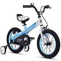 أزرار دراجات للأطفال من RoyalBaby للأولاد والبنات للأطفال بعمر 2-9 سنوات و12 و14 و16 و18 بوصة مع عجلات تدريب أو مسند أحمر أزرق وأخضر وأرجواني وردي للأطفال, RB12-15MB , , Blue, , Matte Button Blue,, 1