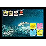 ArtzFolio Shark & Small Fishes Printed Bulletin Board Notice Pin Board cum Black Framed Painting 17.5 x 12inch