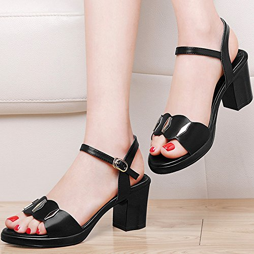 LGK&FA Estate Donna Sandali High-Heeled sandali scarpe con Fitti estivi con un scarpe All-Match 40 Beige 35 black