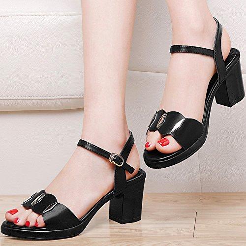 Damen Leder Sandalen mit Hang toe Hausschuhe Sandalen Sommer ,39 Schwarz  Black