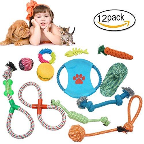 g Kit 12 Tlg Hundespielzeug Kauspielzeug Ideal Interaktives Spielzeug zum spielen und kauen Puppy Seil Baumwollknoten Spielset Zahnreinigung (Hund Kauen Spielzeug)