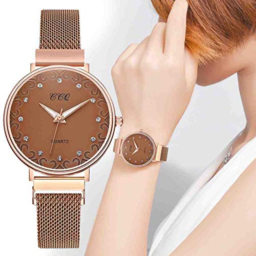 OLUYNG Reloj de Pulsera Simple imán de Malla de Oro Rosa con Hebilla de Cristal para Mujer Reloj Casual...