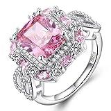 Diamantes Hechos a Mano Diamantes Diamantes Anillo Femenino con Forma de Almohada Micro-Incrustaciones Anillo de Diamantes Joyas de Diamante, Piedras Semipreciosas, Viento Dulce, Juego de Garras de F