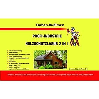 Farben-Budimex Profi Industrie Holzschutzlasur / Farbton Ebenholz / 5 L / Holzschutzlasur 2 in 1 , Grundierung u. Lasur in einem, Speziallasur v. Holzfachhandel mit hohem UV-Schutz