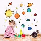 Fushoulu Sonnensystem Wandaufkleber Für Kinderzimmer Sterne Weltraum Himmel Wandtattoos Planeten Erde Sonne Saturn Mars Poster Wandbild