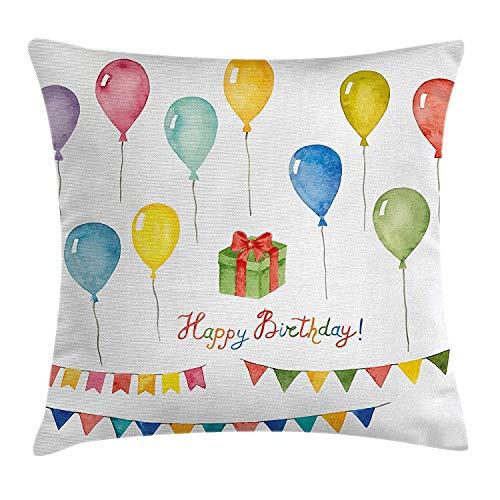DAIAII Birthday Decorations Copricuscini e federe, Watercolor Set for Celebration Flags Surprise Box Balloons Happy Wish, Decorative Square Accent Pillow Case, 18 X 18 Inches, Multicolo