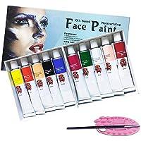 Magicdo Face Paint y Body Paint Set, Safe & Non-Toxic Face and Body Makeup Kit, Rich Pigment Face Kit de Pintura para niños y Adultos con 1 Face Paint Palette y 1 Brush As Bonuses (10 Colores)