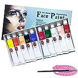 Magicdo Gesichts- und Körperbemalungsset, Ungiftiges Gesichtsmake-up, reichhaltiges Pigment-Gesichtsbemalungs-Kit für Kinder & Erwachsene mit 1 Gesichtsbemalung und 1 Bürste als Bonus (10 Farben)