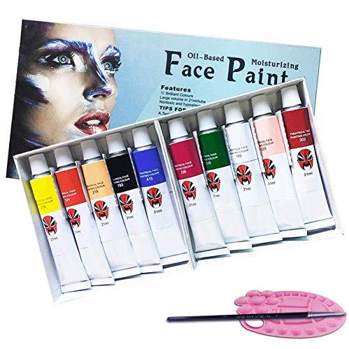 d Körperbemalungsset, Ungiftiges Gesichtsmake-up, reichhaltiges Pigment-Gesichtsbemalungs-Kit für Kinder & Erwachsene mit 1 Gesichtsbemalung und 1 Bürste als Bonus (10 Farben) ()
