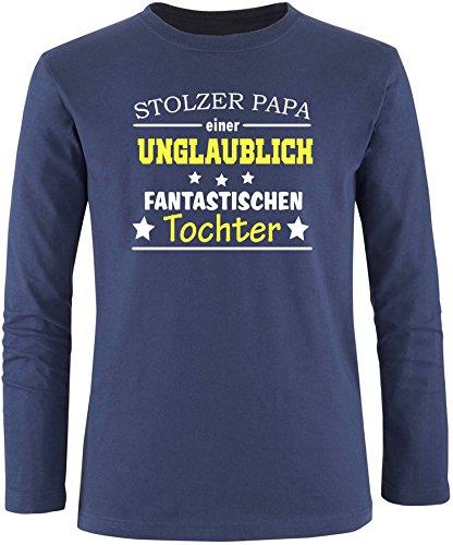 EZYshirt® Stolzer Papa einer unglaublich fantastischen Tochter Herren Longsleeve Navy/ Weiß/ Gelb