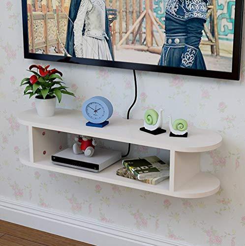 Fen Floating Regal TV Set-Top Box Regal Wandbehang Regal Wohnzimmer WiFi Frame TV Wand Partition Schlafzimmer Router Aufbewahrungsbox (Farbe : Weiß) -