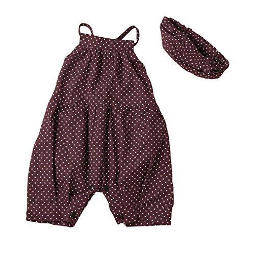 squarex Babykleider-Set für Mädchen/Kleinkinder, gepunkteter Strampler + Stirnband, 2-teiliges Set 0-6Months violett