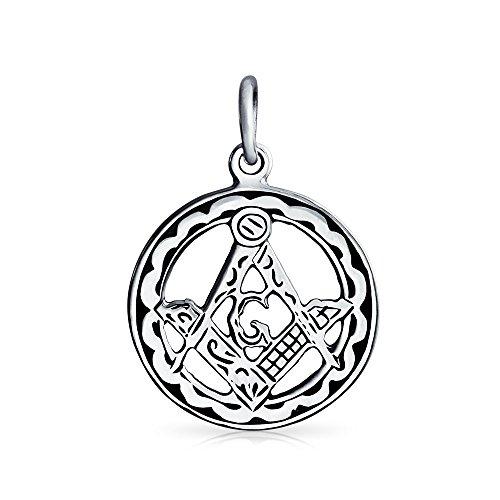 Bling Jewelry 925 Sterling Silver rotonda massone emblema massonico pendente del Mens