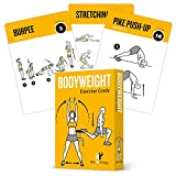 Bodyweight Exercise Cards Home Gym Workout Personal Trainer Fitness Program Guide Tones Core Ab Legs Glutes Chest Bicepts Total Upper Body Workouts Calisthenics Training Routine 3.5