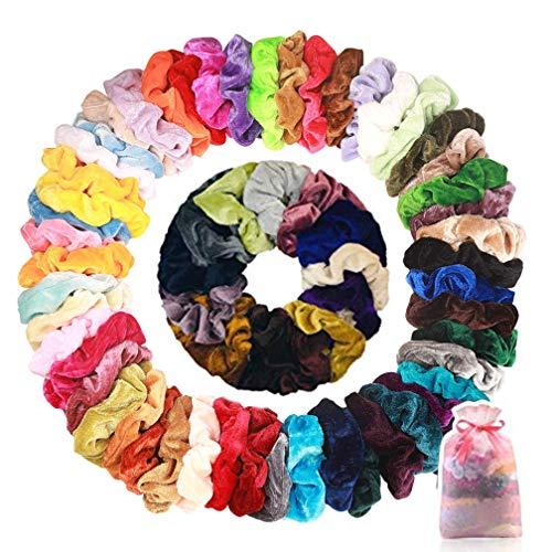 Wanxida 50 pezzi elastici per capelli in velluto, scrunchies velluto, accessori per capelli per donne o ragazze, 50 colori assortiti