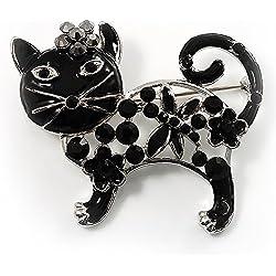 Broche Gato con esmalte y cristal negro