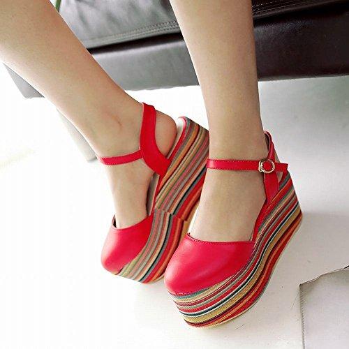 Mee Shoes Damen modern bequem reizvoll Schnalle Geschlossen Slingback Durchgängiges Plateau Plateauschuhe Rot