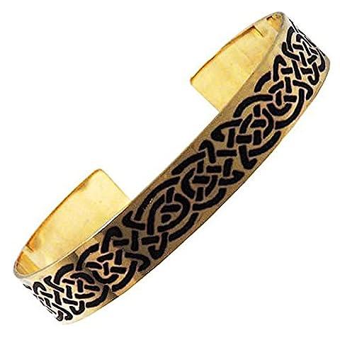 Handgearbeitet Aus Messing, Geätztes Design Keltische Knoten, Armreif, Symbolisiert Eternity