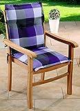 Schwar Textilien Gartenstuhl-Kissen - Cuscini per sedie da Giardino a Schienale Basso, Colore: Nero/Grigio