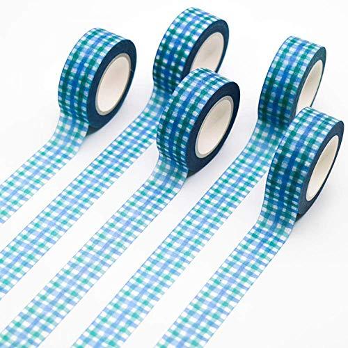 ChenDz Masking Tap 5 STÜCKE Blau Kariertes Klebeband Muster Abdeckband Dekorative Scrapbooking DIY Büro Klebeband 15mm * 10 mt -